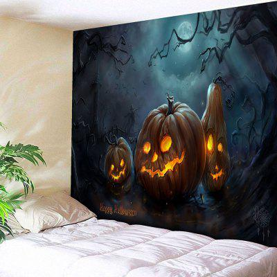 Buy BLUE AND ORANGE Pumpkin Lantern Happy Halloween Wall Tapestry for $18.42 in GearBest store