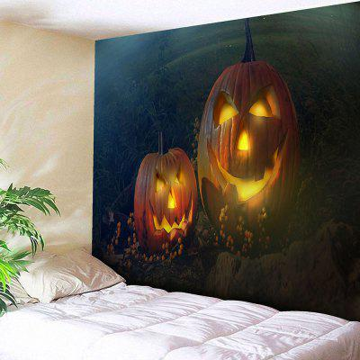 Buy GREEN+ORANGE Halloween Pumpkin Lantern Print Wall Tapestry for $18.42 in GearBest store