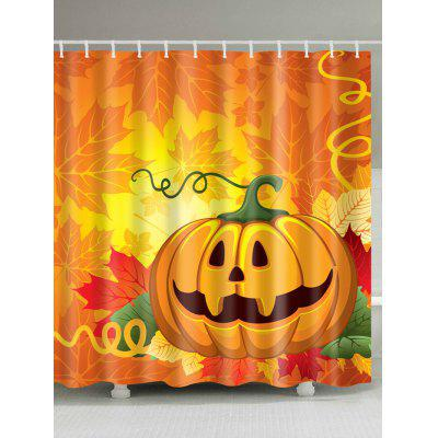 Buy ORANGE RED Halloween Pumpkin Leaf Print Waterproof Fabric Shower Curtain for $19.37 in GearBest store