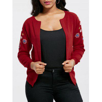 Embroidered Ribbed Cardigan 221714901