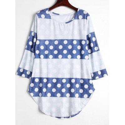 Buy DOT PATTERN XL Contrast Polka Dot Long Tee for $19.44 in GearBest store