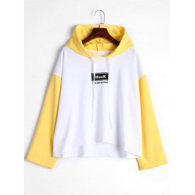 Buy YELLOW L Contrast Drop Shoulder Letter Hoodie for $21.74 in GearBest store