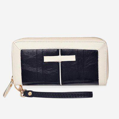 Two Tone Faux Leather Clutch Wallet