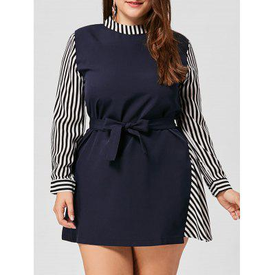 Buy BLUE 3XL Plus Size Striped Asymmetrical Belted Dress for $21.72 in GearBest store