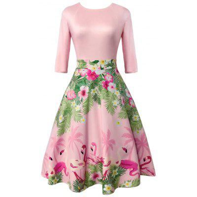 Vintage Floral and Flamingo Print Dress