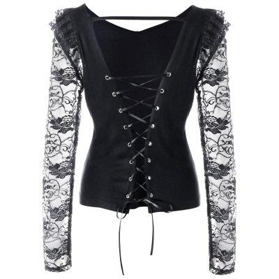 Buy BLACK 2XL Lace Trim Open Back Lace Up Top for $15.23 in GearBest store