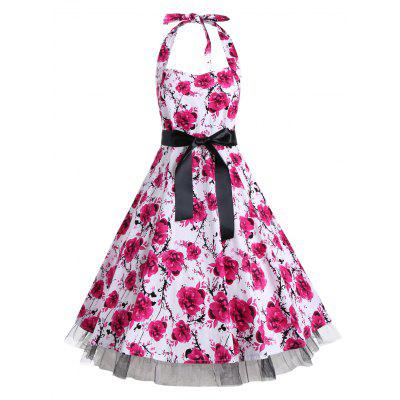 Buy PINK XL Floral Halter Vintage A Line Dress for $29.12 in GearBest store