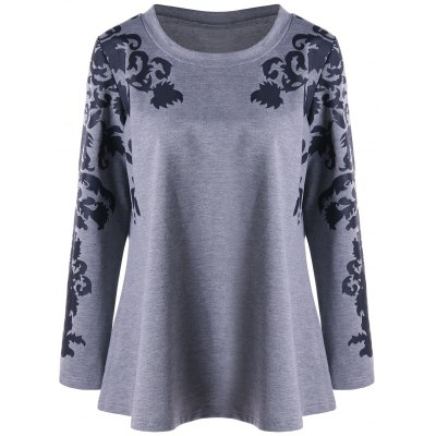 Print Plus Size Raglan Sleeve Top