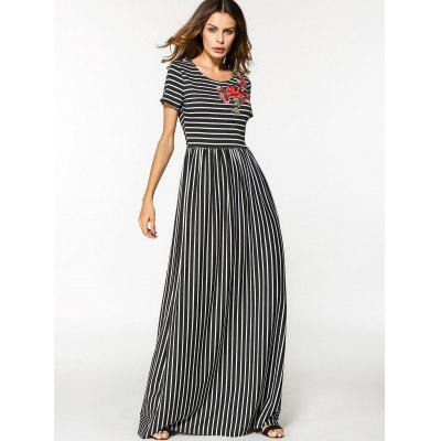 Floral Embroidered Patched Stripes Maxi DressMaxi Dresses<br>Floral Embroidered Patched Stripes Maxi Dress<br><br>Dresses Length: Floor-Length<br>Embellishment: Embroidery,Patch Designs<br>Material: Cotton, Polyester<br>Neckline: Round Collar<br>Occasion: Casual , Going Out<br>Package Contents: 1 x Dress<br>Pattern Type: Striped<br>Season: Summer<br>Sleeve Length: Short Sleeves<br>Weight: 0.4200kg<br>With Belt: No