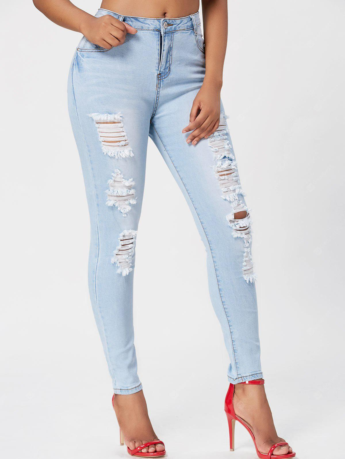 Light Wash Skinny Ripped Jeans