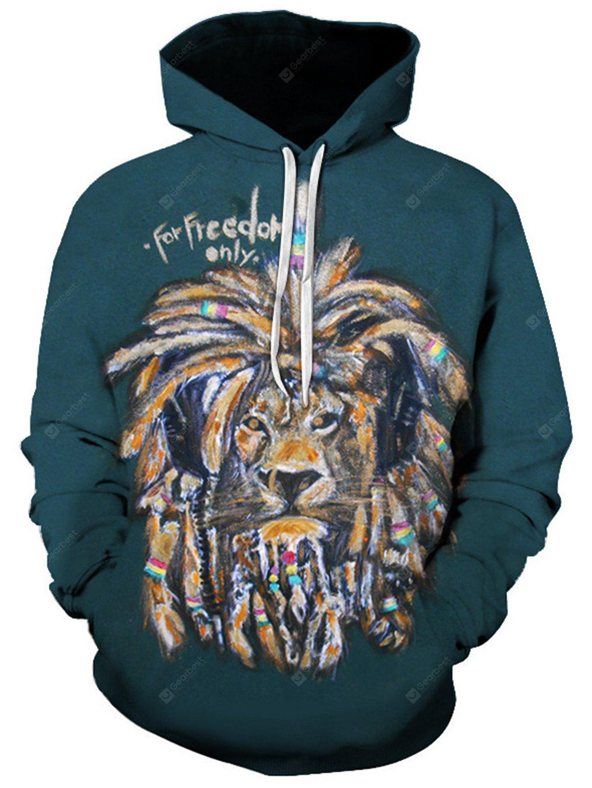 Hooded 3D Lion Graphic Print Hoodie