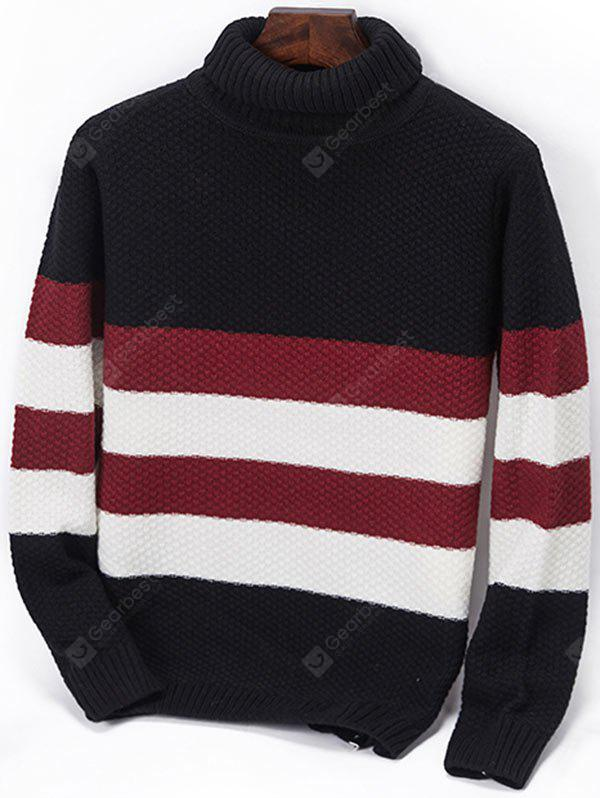 Turtleneck Striped Popcorn Knitted Sweater