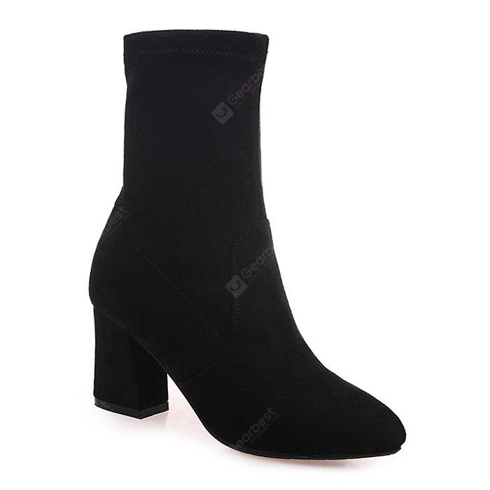 Mid Heel Pointed Toe Short Boots