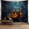 Pumpkin Lantern Happy Halloween Wall Tapestry - BLUE AND ORANGE
