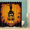 Halloween Pumpkin Cat Print Waterproof Fabric Shower Curtain - COLORMIX