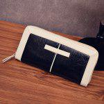 Two Tone Faux Leather Clutch Wallet - BLACK