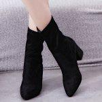 Mid Heel Pointed Toe Short Boots - BLACK