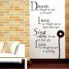 Letters Quote Wall Art Stickers For Living Room - PRETO