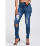 Cut Out Skinny Distressed Jeans - AZUL