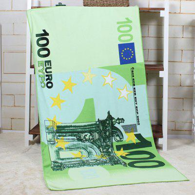 100 Euro Banknote Pattern Water Absorption Bath Towel
