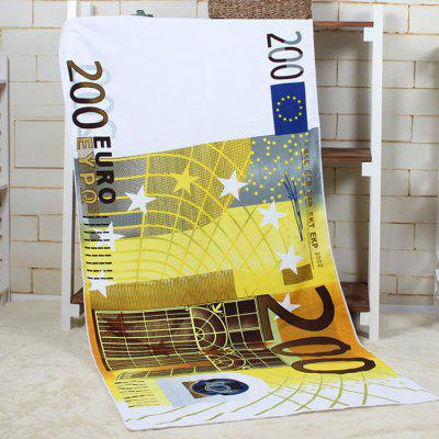 200 Euro Banknote Pattern Water Absorption Bath Towel