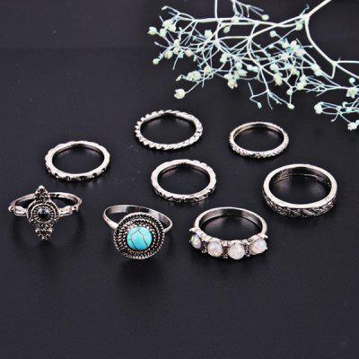 Faux Turquoise Gem Round Finger Ring Set