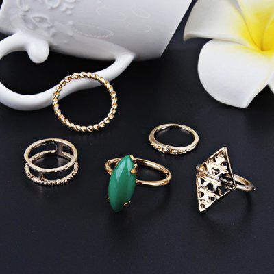 Vintage Faux Emerald Geometric Ring Set