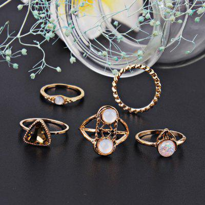 Faux Gemstone Circle Finger Ring Set