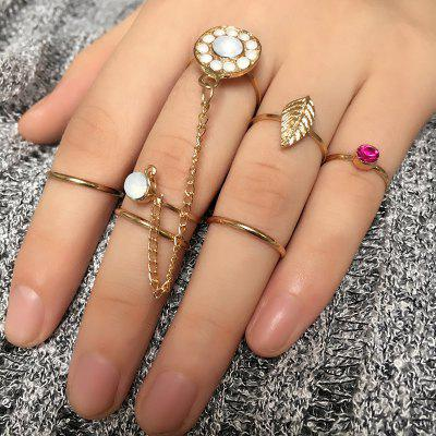 Rhinestone Alloy Leaf Slave Finger Ring Set