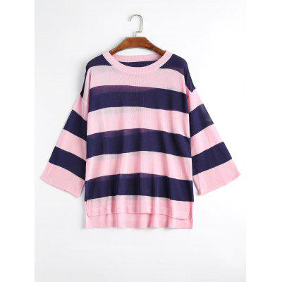 Buy PINK 3XL Plus Size Striped Knit Side Slit Sweater for $24.23 in GearBest store