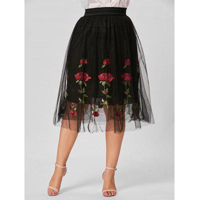 Plus Size Floral Embroidered Mesh Skirt