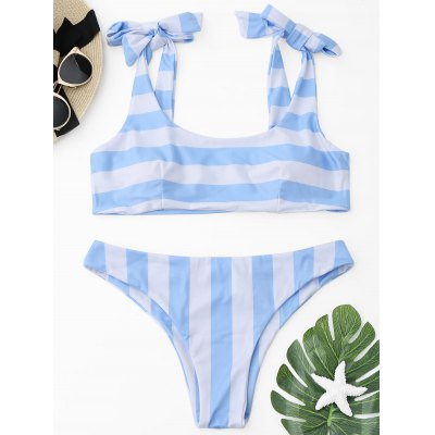 Buy BLUE AND WHITE M Striped Self-tied Bikini Set for $17.36 in GearBest store