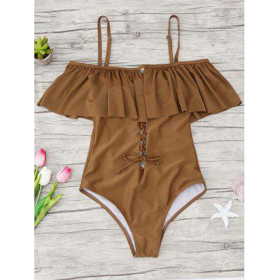 Buy BROWN XL One Piece Ruffles Lace Up Backless Swimwear for $17.69 in GearBest store