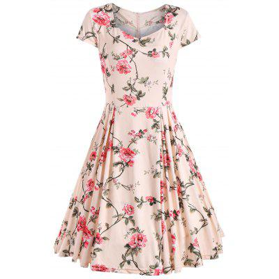 Cap Sleeve Floral Print Vintage Dress