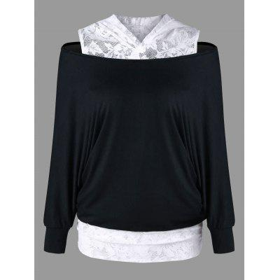 Lace Trim Cold Shoulder Hoodie