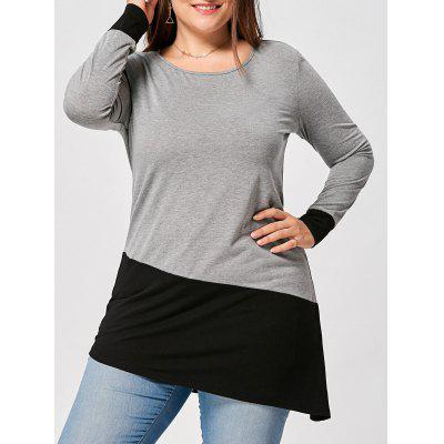 Buy BLACK AND GREY 5XL Plus Size Asymmetric Two Tone Long Sleeve T-shirt for $11.35 in GearBest store