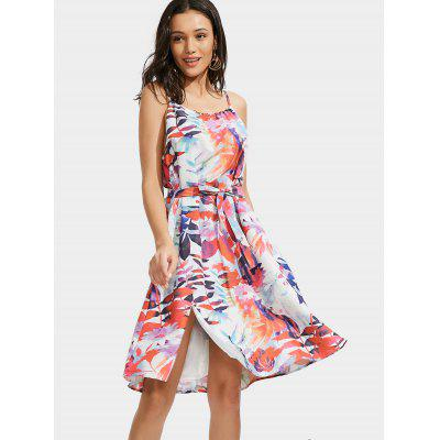Slit Leaves Print Cami Belted DressWomens Dresses<br>Slit Leaves Print Cami Belted Dress<br><br>Dresses Length: Knee-Length<br>Material: Polyester<br>Neckline: Spaghetti Strap<br>Occasion: Casual, Going Out<br>Package Contents: 1 x Dress  1 x Belt<br>Pattern Type: Print<br>Season: Summer<br>Silhouette: A-Line<br>Sleeve Length: Sleeveless<br>Style: Brief<br>Weight: 0.3150kg<br>With Belt: Yes