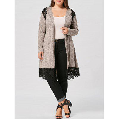 Plus Size Lace Panel Long Sleeve Scalloped Cardigan
