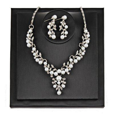 Branches and Leaves Faux Pearls Rhinestone Jewelry Set
