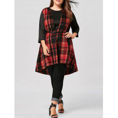 Plus Size Open Front High Low Plaid Waistcoat