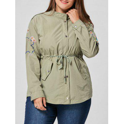Plus Size Floral Embroidered Drawstring Waist Jacket