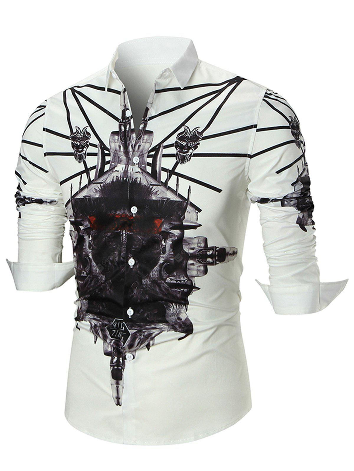 Button Long Sleeved 3D Print Shirt
