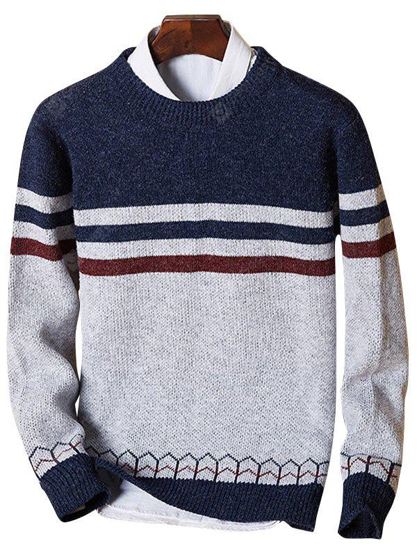 Crew Neck Color Block Stripe Jumper