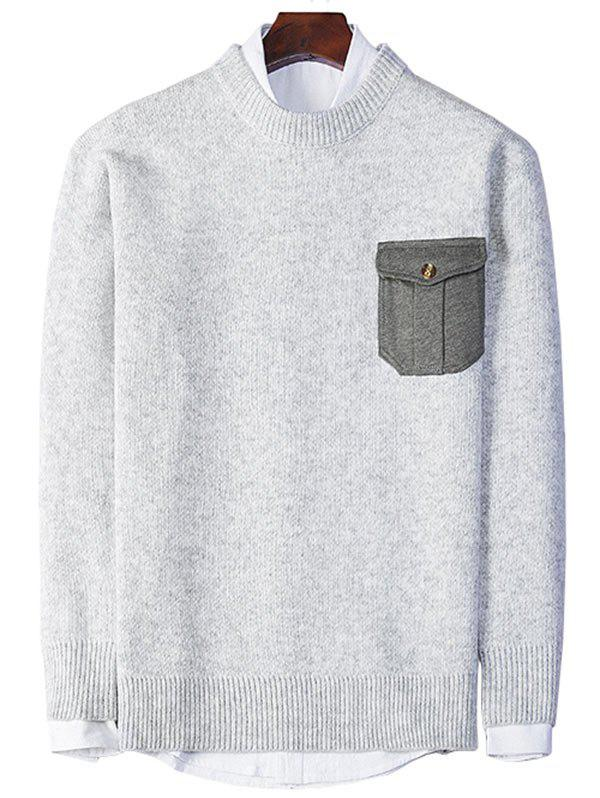 Crew Neck Elbow Patch Pocket Sweater