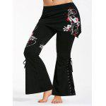 Criss Cross Butterfly Plus Size Flare Pants - RED AND WHITE