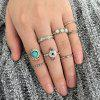 Faux Turquoise Gem Round Finger Ring Set - SILVER