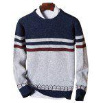 Crew Neck Color Block Stripe Jumper - PURPLISH BLUE