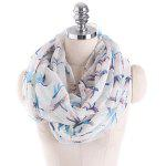 Multicolor Dragonfly Printed Infinity Scarf - WHITE