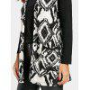 Open Front Tribal Print Cardigan - WHITE AND BLACK