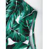 Lace Up Criss Cross Leaf Print Swimsuit - GREEN